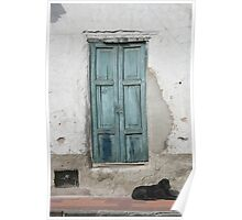 Black Dog and Blue Door Poster