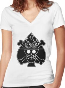 Ace - OP Pirate Flags Women's Fitted V-Neck T-Shirt