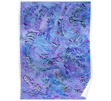 Cerulean and Mauve Handmade Abstract Background Poster