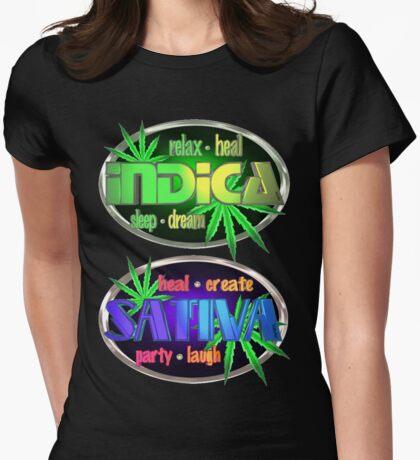 Indica Sativa Marijuana  Womens Fitted T-Shirt