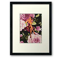 vintage purple roses pin up girl Framed Print