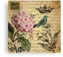 vintage paris hydrangea floral botanical art Canvas Print