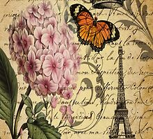vintage paris hydrangea floral botanical art  by lfang77