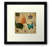 vintage butterfly hydrangea floral botanical art Framed Print
