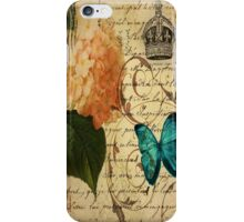 vintage butterfly hydrangea floral botanical art iPhone Case/Skin