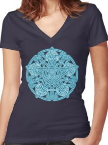 Celestial Celtic Knotwork Pentacle Women's Fitted V-Neck T-Shirt