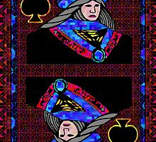 Pixel Queen of Spades by RonMock