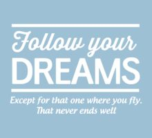Follow your dreams except the one where you fly. That one never ends well  by artack