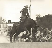Jack Wade on Bronc Circa Early 1940's by Robert Stanford
