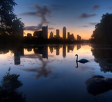 Texas Images - The Austin Skyline on a September Morning from Ladybird Lake 2 by RobGreebonPhoto