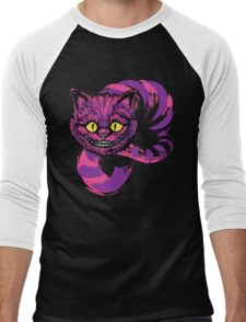 Grinning like a Cheshire Cat (purple version) Men's Baseball ¾ T-Shirt
