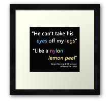 Nylon Lemon Peel (All About Eve, Betty Davis Film) - Black Framed Print