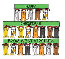 Cats in Santa hats Happy Christmas from West Virginia. by KateTaylor