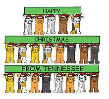 Cats in Santa hats Happy Chrismas from Tennessee. by KateTaylor