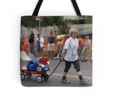 THE LADY PULLING THE PROJECT ANGEL FOOD WAGON OF LOVE Tote Bag