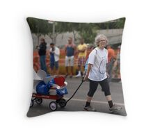 THE LADY PULLING THE PROJECT ANGEL FOOD WAGON OF LOVE Throw Pillow