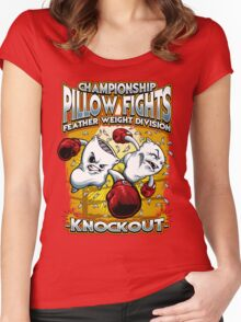 Pillow fight! Women's Fitted Scoop T-Shirt