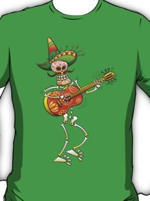Mexican Skeleton Playing Guitar T-Shirt