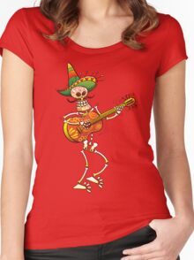 Mexican Skeleton Playing Guitar Women's Fitted Scoop T-Shirt