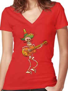Mexican Skeleton Playing Guitar Women's Fitted V-Neck T-Shirt