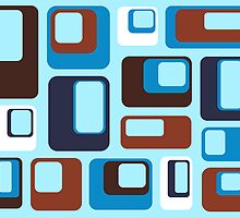 Retro Blue Brown Squares by Catherina Amor