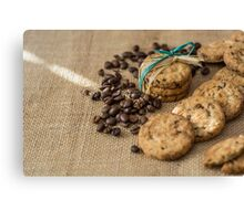 Homemade cookies and coffee beans Canvas Print