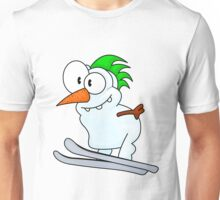 Skiing snowman Unisex T-Shirt