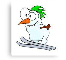 Skiing snowman Canvas Print