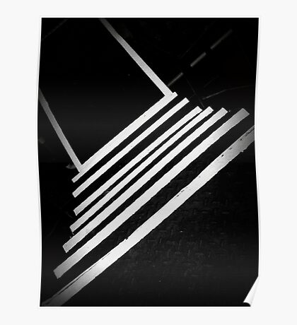 Going Down Steps On a White Line Poster