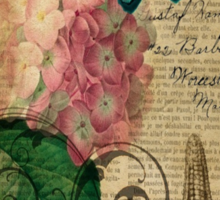 vintage starfish butterfly hydrangea floral botanical art  Sticker