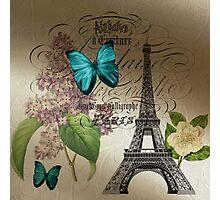 vintage paris eiffel tower butterfly lilac floral art  Photographic Print