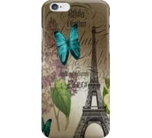 vintage paris eiffel tower butterfly lilac floral art  iPhone Case/Skin