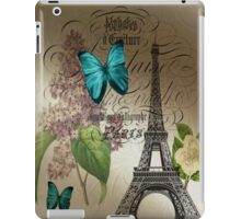 vintage paris eiffel tower butterfly lilac floral art  iPad Case/Skin