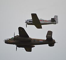 B-25 Mitchell & T-28 Fennec by mike  jordan.