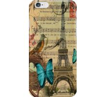 vintage paris eiffel tower music notes botanical art iPhone Case/Skin