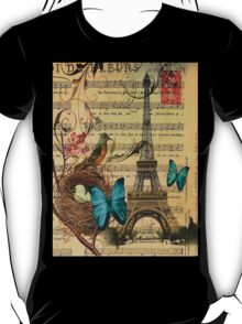 vintage paris eiffel tower music notes botanical art T-Shirt
