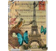 vintage paris eiffel tower music notes botanical art iPad Case/Skin