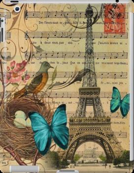 vintage paris eiffel tower music notes botanical art by lfang77