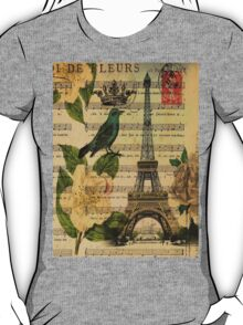 white roses vintage eiffel tower music notes art T-Shirt