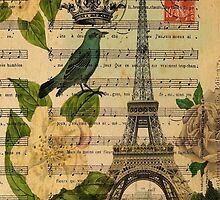 white roses vintage eiffel tower music notes art by lfang77