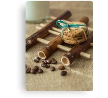 Cookies and milk on bamboo pad Canvas Print