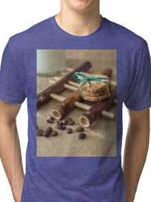 Cookies and milk on bamboo pad Tri-blend T-Shirt