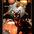 black cat,bats,planets and moons in Halloween card/poster by valxart.com  by Valxart