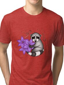 Raccoon with Clementine Flowers Tri-blend T-Shirt