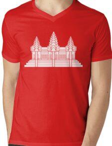 Angkor Wat / Khmer / Cambodian Flag Mens V-Neck T-Shirt