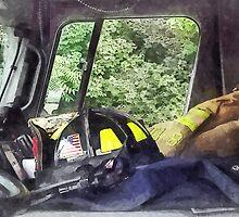 Firemen - Helmet Inside Cab of Fire Truck by Susan Savad