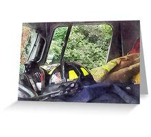 Firemen - Helmet Inside Cab of Fire Truck Greeting Card