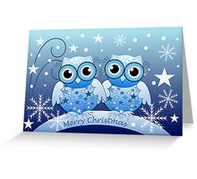 Cute Blue Owls Merry Christmas text card Greeting Card