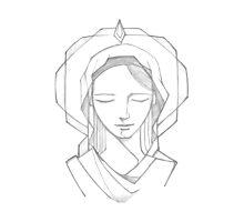 Virgin Mary Illustration Photographic Print