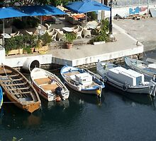 Boats in a Water Inlet on the Island of Crete in Greece 2 by JaguarJulie